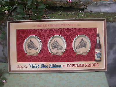 vintage Pabst Blue Ribbon sign - Triple Crown Winners -as-is, soiled