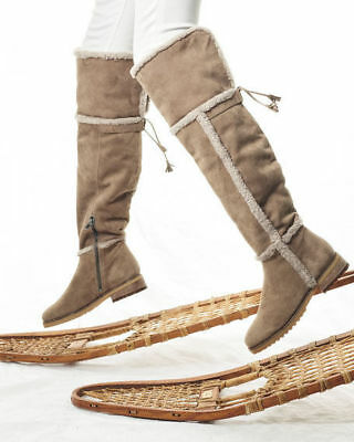 772e83af227 FRYE  Tamara  Genuine Shearling Taupe Suede Over the Knee Boot Women Size 8   528