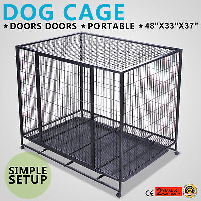 """48"""" Dog Pet Cage Transport Carrier Crate Box Heavy Duty Portable W/tray Popular"""