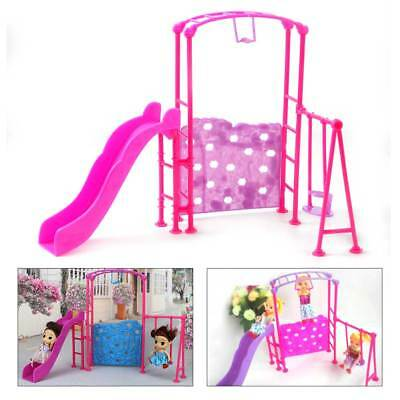 Pink Slide Swing Climber Playground Dollhouse for Barbie Doll Kid Baby Girl