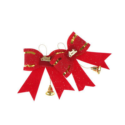 2pcs Metal Small Bell Christmas Decoration Bow DIY Handmade Bowknot FR