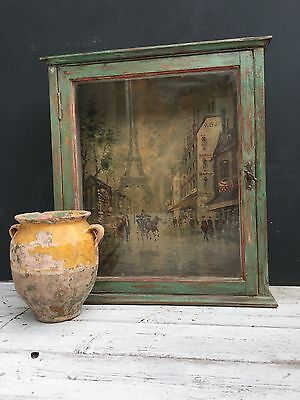 Vintage display apothecary cabinet,with Parisian scene
