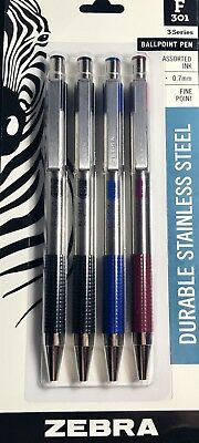 Zebra F-301 Stainless Steel Retractable Ballpoint Pen, 0.7mm, Assorted, 4 Pack