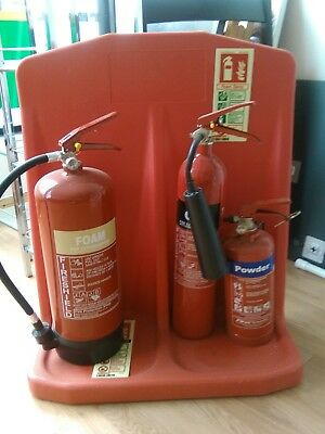 3 fire extinguishers on stand