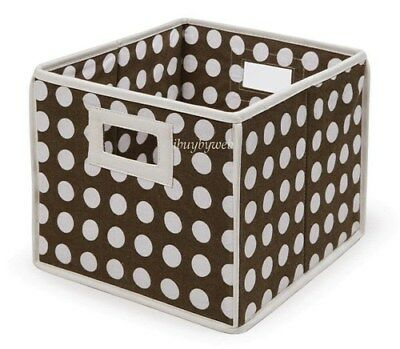 BROWN WHITE POLKA DOT Nursery Basket/Storage Cube 2 Set