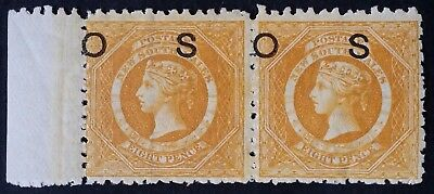 1882- NSW Australia Pair of 8 d yellow Large Diadem Stamps Mint O S O/P INV WMK