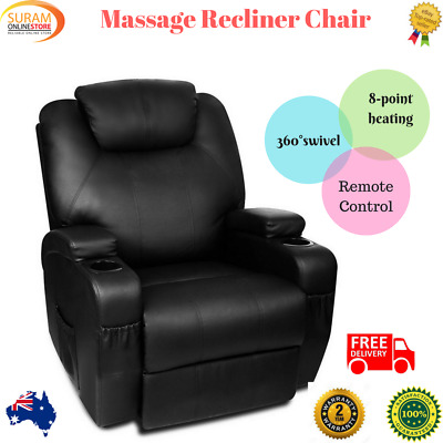 New Leather Massage Chair Remote Recliner Stretching 360 degree swivel 8 heating