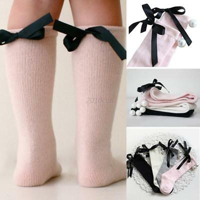 Baby Girls Socks Knee High With Bows Pearl Baby Socks Long Tube Kids Leg Warmers