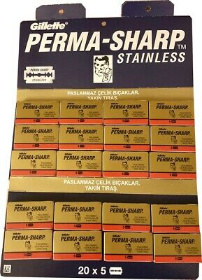 100 Permasharp Super double edge razor blades