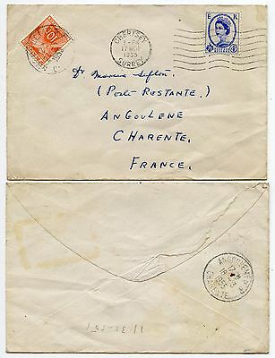 FRANCE POSTAGE DUE 10F from GB 1955 WILDING 4d