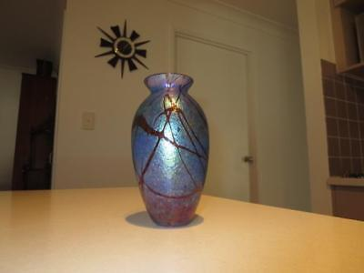 Colin Heaney Iridescent Australian Art Glass Signed Vase