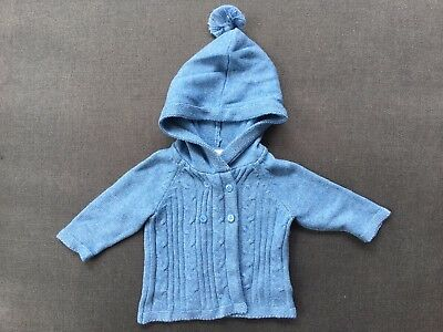 Pure Baby Boys Blue Cotton/Wool Hooded Cardigan Size 000