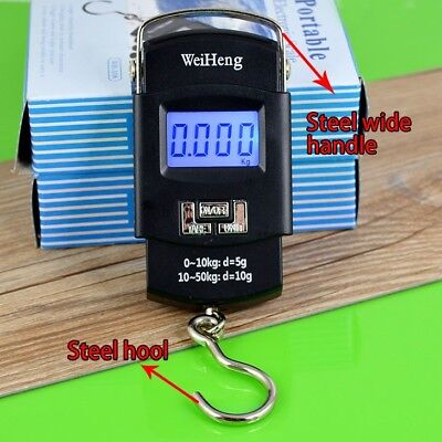 50KG/10G Electronic Portable LCD Digital Weight Scales Hook Fish Hanging Luggage