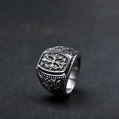 Fleur De Lis Knights Templar Crusades Masonic Cross Celtic Silver Men Sz6-9 Ring