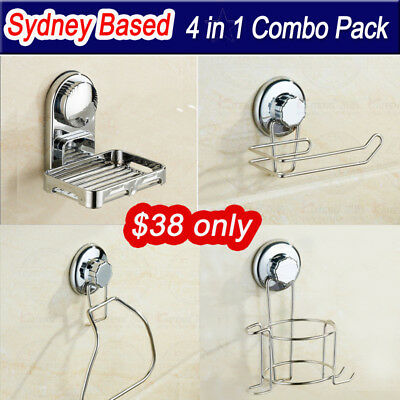 4in1 Combo Suction Cup Towel Ring Soap Dish Hair Dryer Holder Toilet Paper holde
