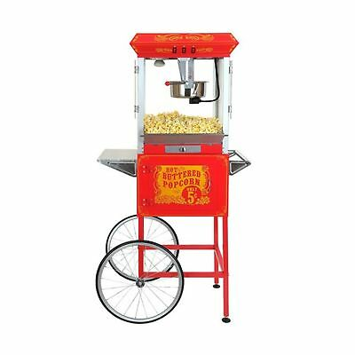 FunTime Full-size High Quality Carnival Style 8-oz Popcorn Machine Maker & Cart