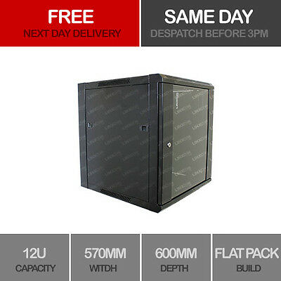"12U 19"" Network Cabinet Rack Wall Mounted 570*600mm Black Data Comms Patch Panel"