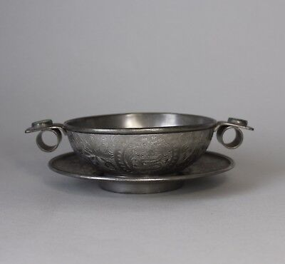 Antique Chinese Pewter Bowl and Plate - with Jade Inlay