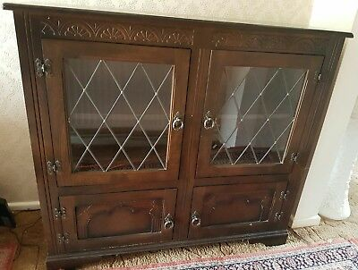 VINTAGE DARK OAK SOLID WOOD BOOKCASE VERY GOOD CONDITION Glass Doors + 2 drawers