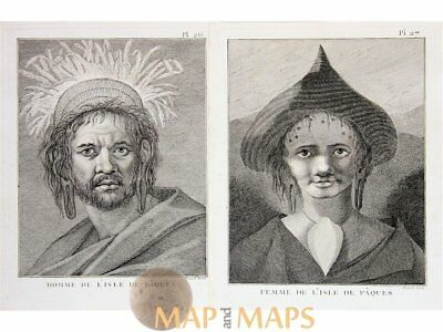Easter Island, Woman & Man Voyages Cook 1778