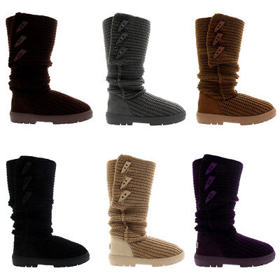 Ladies Toggle Knitted Cardy Fur Lined Classic Snow Rain Winter Boots All Sizes