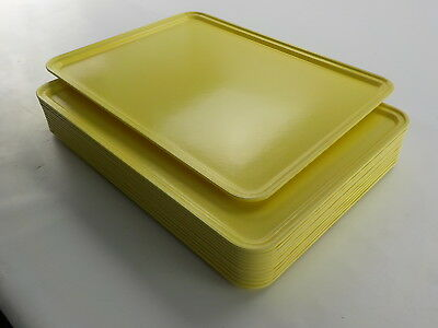 "Carlisle Fiberglass Glasteel Solid Metric Tray 19.69 x 15.16"", Lemon, 12 Pack"