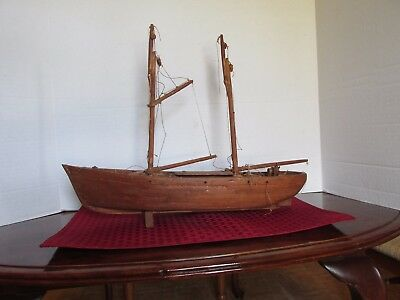 Ship Model Antique Folk Art  Primitive Wooden Handcrafted Unique Rare