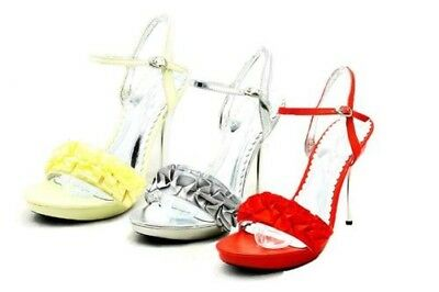 Ladies frilled front high heel shoes / sandals with silver heel