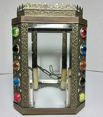 Antique BRASS with COLORED GLASS JEWELS JEWELED HANGING HALL CEILING LIGHT
