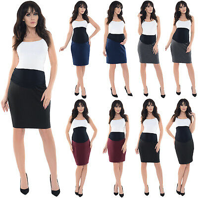 Purpless Maternity Workwear Formal Maternity Pencil Elasticated Band Skirt 1504