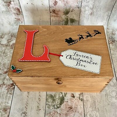 Personalised Wooden Christmas Eve Box Poem Inside Children's Initial Rustic Wood