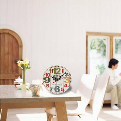 Artistic Silent Creative European Style Round Antique Wooden Home Wall Clock WR
