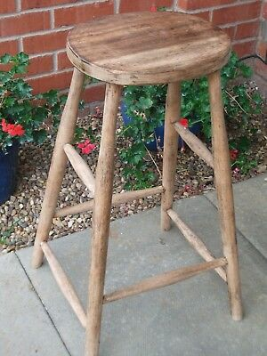 Vintage Wooden Kitchen Stool - Tall Elm Seat - 70 cm Height - Great Condition