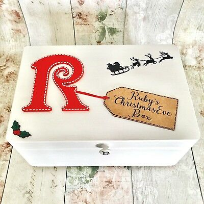 Personalised Wooden Christmas Eve Box Poem Inside Lid Children's Initial White