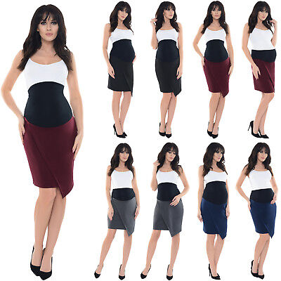 Purpless Maternity Workwear Asymmetric Elasticated Belly Band Skirt Dress 1508