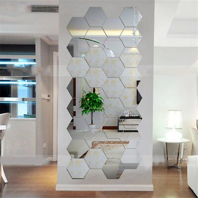 Hexagonal 3D Mirrors Wall Stickers Home Decor Living Room Mirror Wall Sticker WR