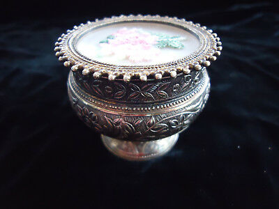 Fine Hand Made Sterling Silver Repousse Jewelry Or Vanity Box With Needle Point