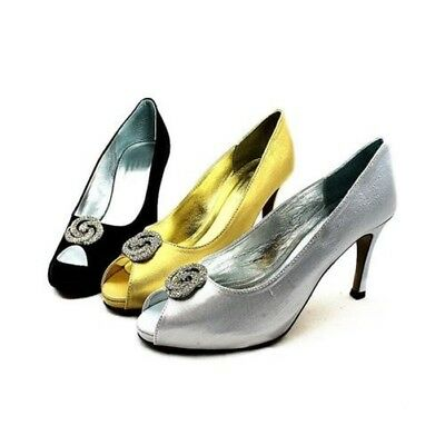 Shimmer Satin Open toe medium heel wedding shoes