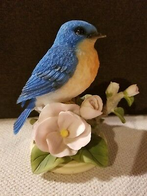 English Bluebird Figure On Floral Branch