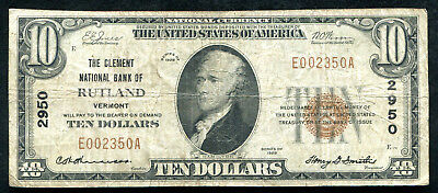 1929 $10 The Clement Nb Of Rutland, Vt National Currency Ch. #2950