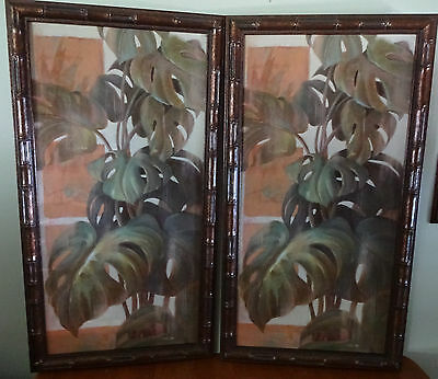 (2) HOME INTERIORS HOSTESS COLLECTION GLASS FRAMED PRINTS ~ FERN/PLANTS ~ 26 x14