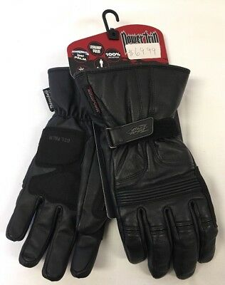 Leather Snowmobile Gloves Power Trip Dakota Mens L Waterproof Gel Palm NEW G104