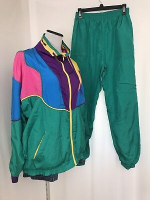 Vtg 80's Colorblock Nylon Track Suit Sweatsuit Size M Lined