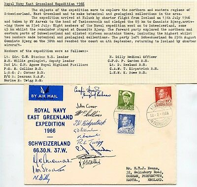 Arctic 1966 East Greenland Signed Cover Royal Navy Expedition Polar