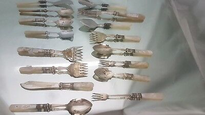 A collection of 16 pieces of cutlery mother of pearl handles.very collectable.