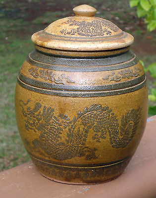 Rustic Rare Antique Pottery Lidded Canister / Jar *Ratchaburi Thailand *Dragons