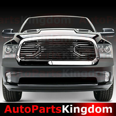 13-17 Dodge RAM 1500 Big Horn Black Packaged Grille+Chrome Shell Replacement