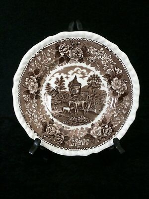 Vintage Adams Real English Ironstone 'English Scenic' Lunch Plate in Brown 2