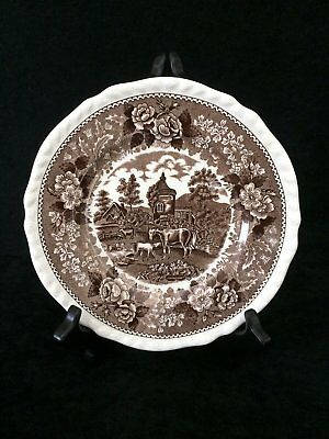 Vintage Adams Real English Ironstone 'English Scenic' Lunch Plate in Brown 3