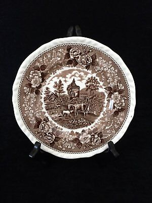 Vintage Adams Real English Ironstone 'English Scenic' Lunch Plate in Brown 4